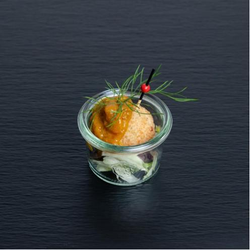 Garnelen-Reisbällchen mit Apfel-Curry-Dip