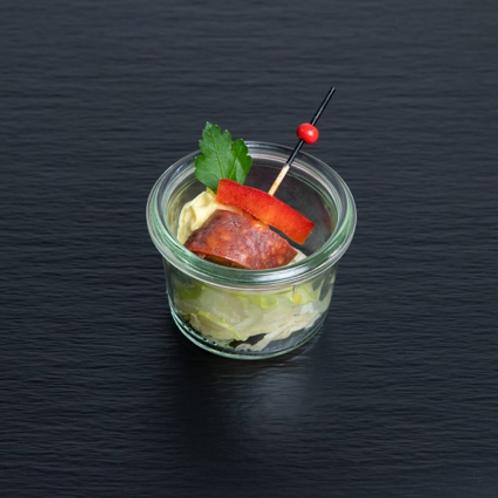 Chorizo-Spieß mit Safran-Aioli