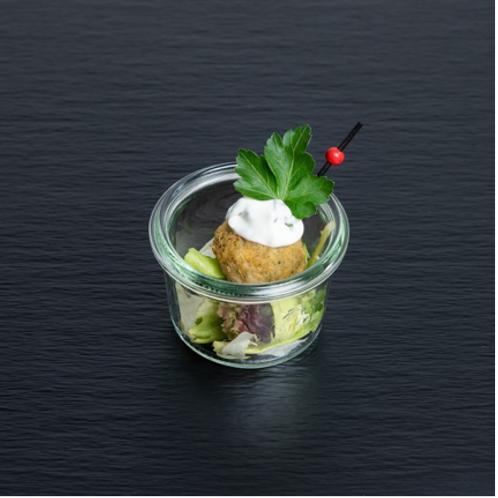 Falafel-Kichererbsenbällchen mit Kokos-Minz-Dip