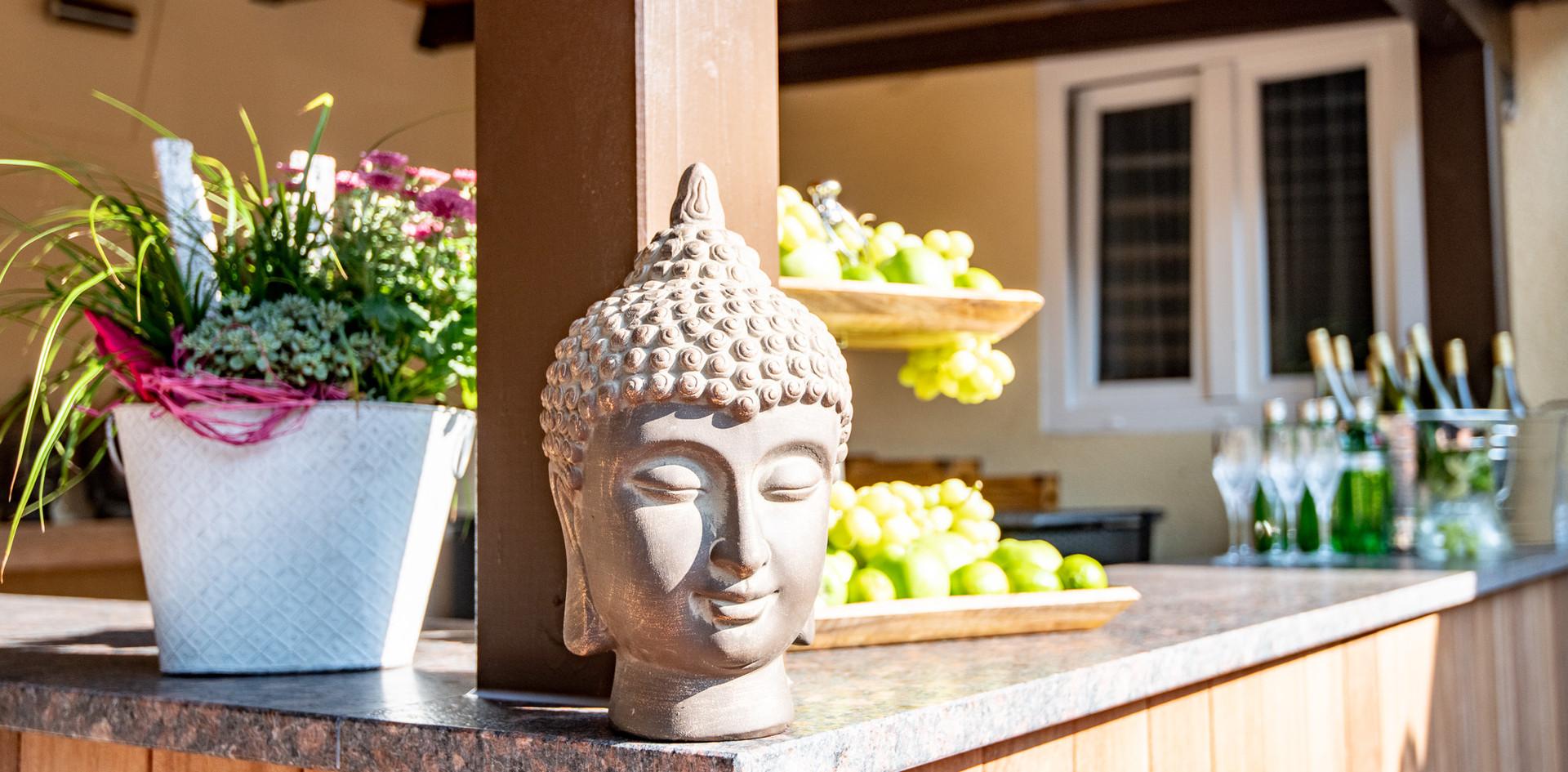 Deko Buddha-kopf Hotel Wegner - the culinary art hotel