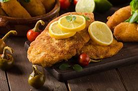 Chicken schnitzel and homemade potato cr