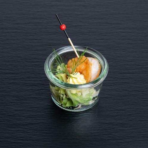 Garnelen-Spießchen mit Chili-Dip