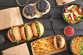 Different tasty food from delivery servi