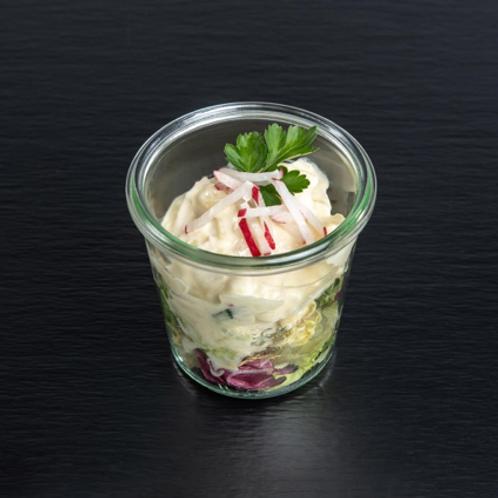 getrüffelter Kartoffelsalat mit Gurken- & Radieschenstreifen