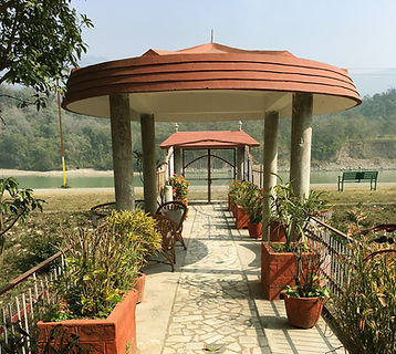 Sadhana Mandir Ahram in Risikesh on banks of Ganges river