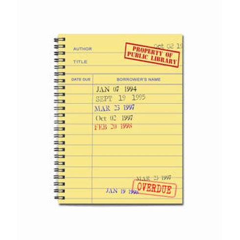 """Yellow Library Card Notebook   5"""" x 7"""""""
