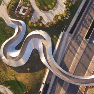 9. BP Pedestrian Bridge (2004) Millennium Park, Chicago_ Credit Shutterstock