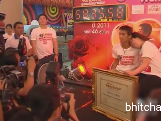 The longest kiss record in the world 58 hours for Thai couples