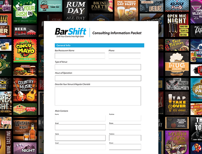 BarShift Wall Of Events With Questionnai