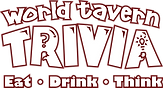WHITE World Tavern Trivia DEEP RED STROK
