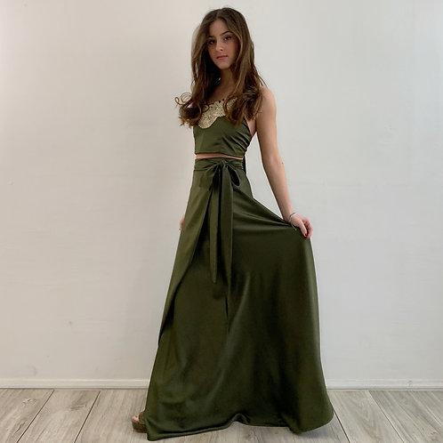 Falda pareo verde musgo