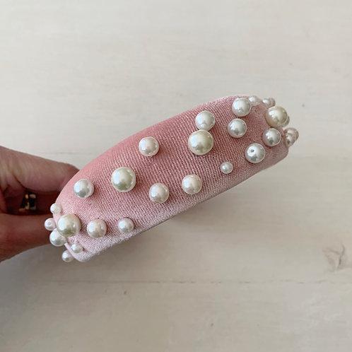 Cintillo rosa perlitas