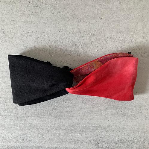 Turbante negro rojo color