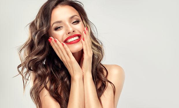 Beautiful laughing brunette model  girl