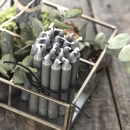 10er Kerzenbündel Grau