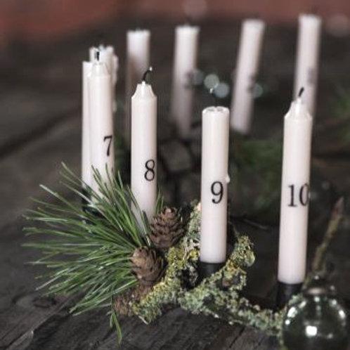 Dünne Kerzen 1-24 malva mit Zahlen