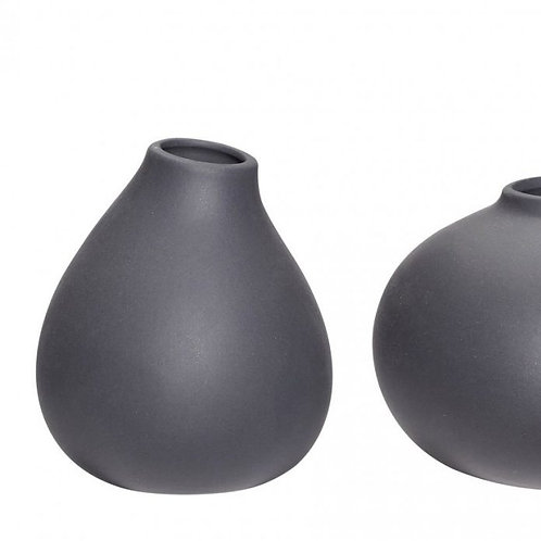 organische Vase dunkelgrau