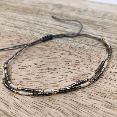 trendy Miyuki Armband silver/beige