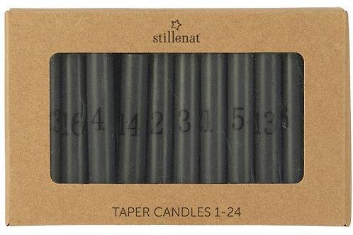 Dünne Kerzen 1-24 dunkelgrau mit Zahlen