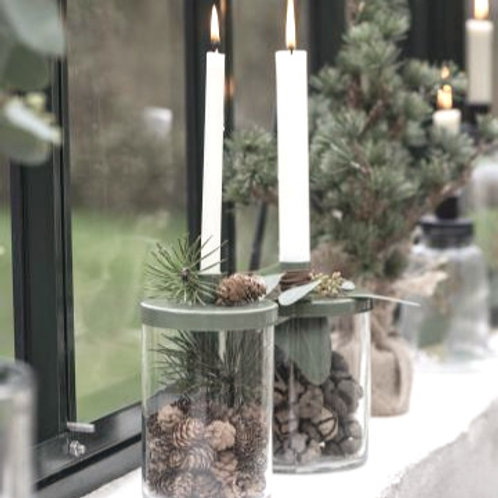 Kerzenglas für dünne Kerzen Moosgrün
