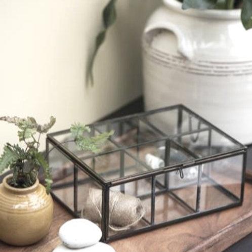 Glasbox mit 6 Fächer und Deckel