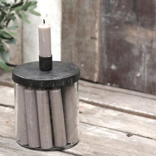 Kerzenständer mit losem Deckel  für kurze Stabkerzen
