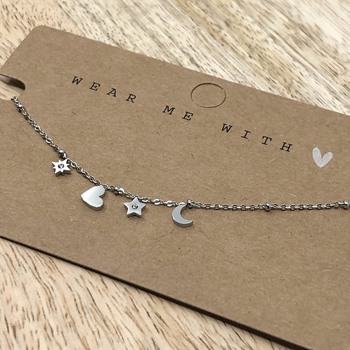 heart, star and moon silber