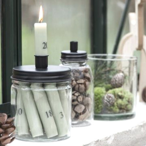 Kerzenglas mit schwarzem Metall Schraubdeckel