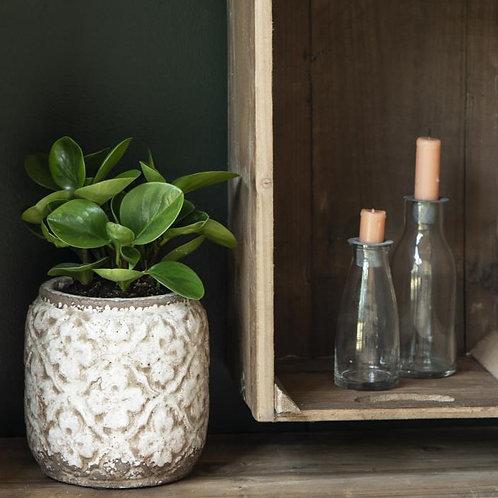 Flasche mit losem Kerzeneinsatz aus Zink klein