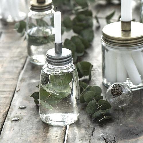 Kerzenglas schmal mit Metall Schraubdeckel Zink