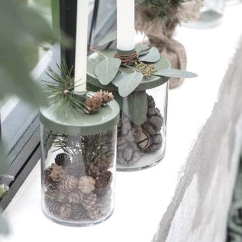 Kerzenglas für kurze Stabkerzen in Moosgrün