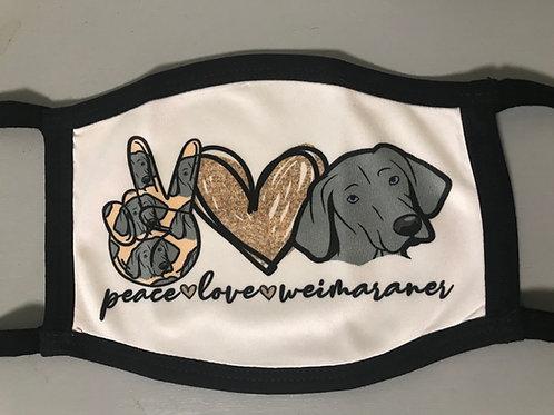 Weimaraner Peace & Love Face Mask