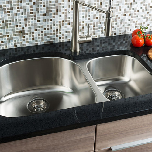 Rounded Undermount Sink   Extra Large 70/30 Double Bowl Stainless Steel