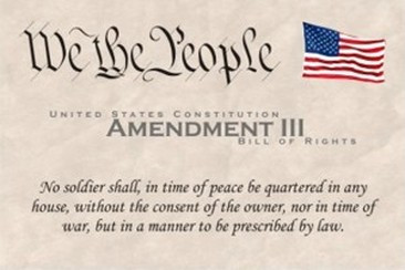3rd Amendment protects against forceful quartering of troops
