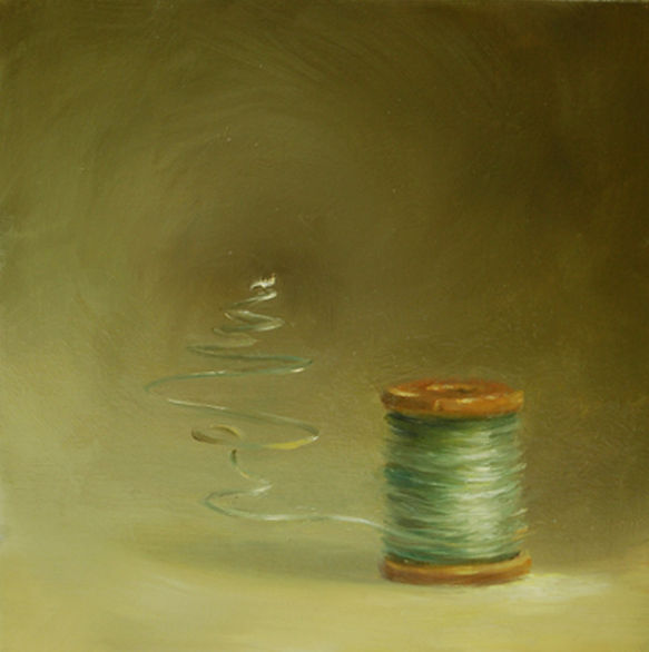 Surreal painting of spool of thread unraveling, oil on panel