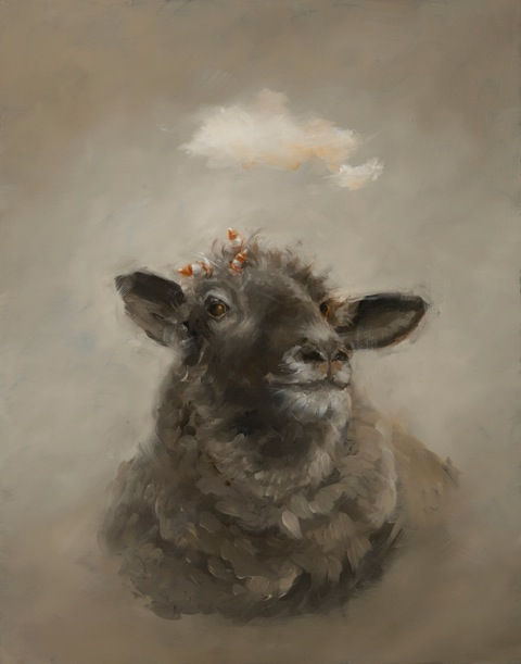 Black Sheep with baby bottles.  Oil on panel