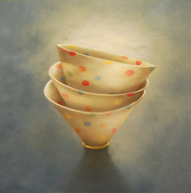 Polka dot porcelain bowls, oil on panel