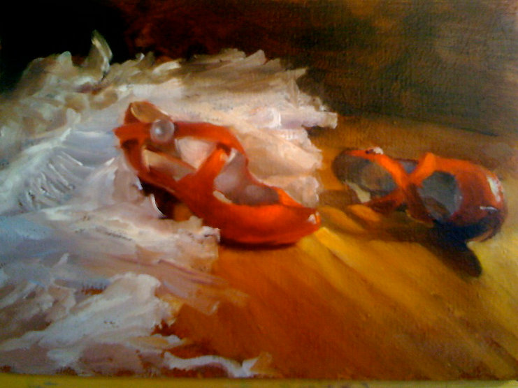 Red shoes with petticoat, oil on panel.