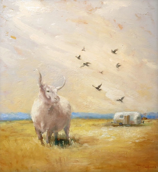 Airstream and longhorn cow. oil on canvas