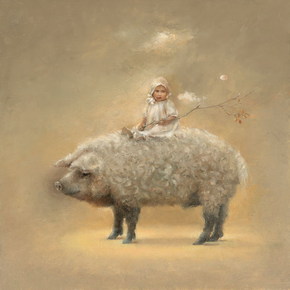 Mangalista pig and child painting in oil.