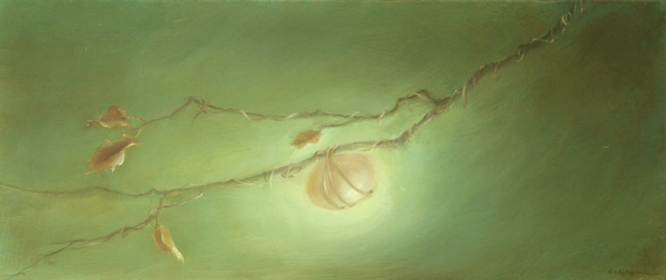Surreal egg suspended off branch, oil on canvas.