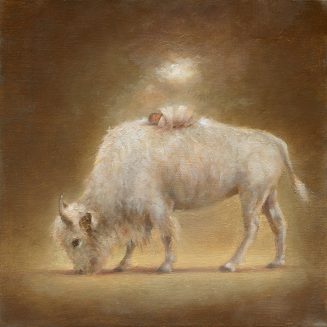 Oil on canvas painting of white buffalo with swaddled baby.