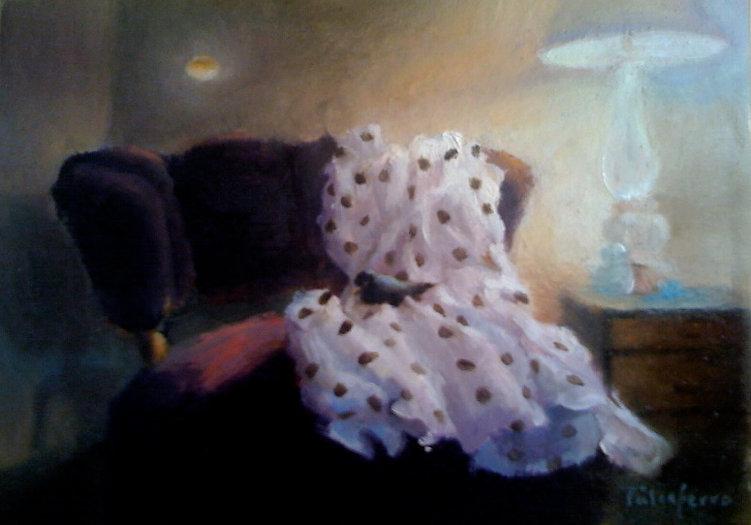 Polka dot dress, oil on panel.