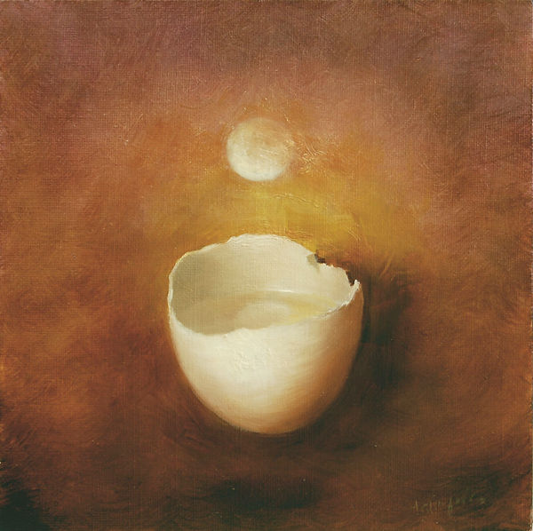 Surreal moon suspended over open egg shell, oil on canvas.