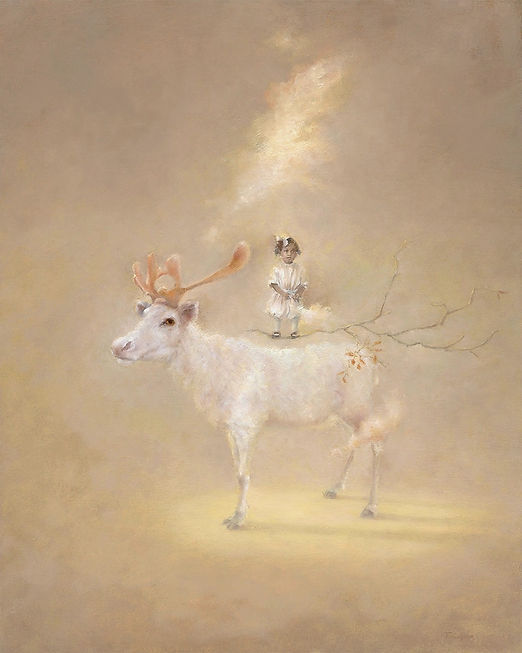 Mongolian Reindeer with black child from the thirties in formal dress. Common sacred thread of nature and humanity joining unlikely pairings. A magical dreamscape of innocence, beauty, and the shared intelligence of the soul. Stillness reveals what is behi
