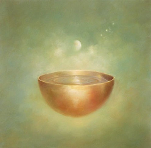"""surreal moonlight bowl with stars. 24"""" x 24"""""""