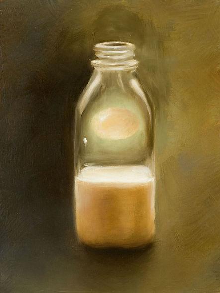 Surreal painting, egg suspended in glass milk bottle, oil on panel.