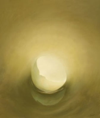 Glowing half egg shell, oil on panel