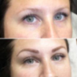 Restructuration des sourcils avec le maquillage permanent.