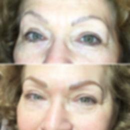Maquillage permanent des sourcils avec correction de forme et de couleur.